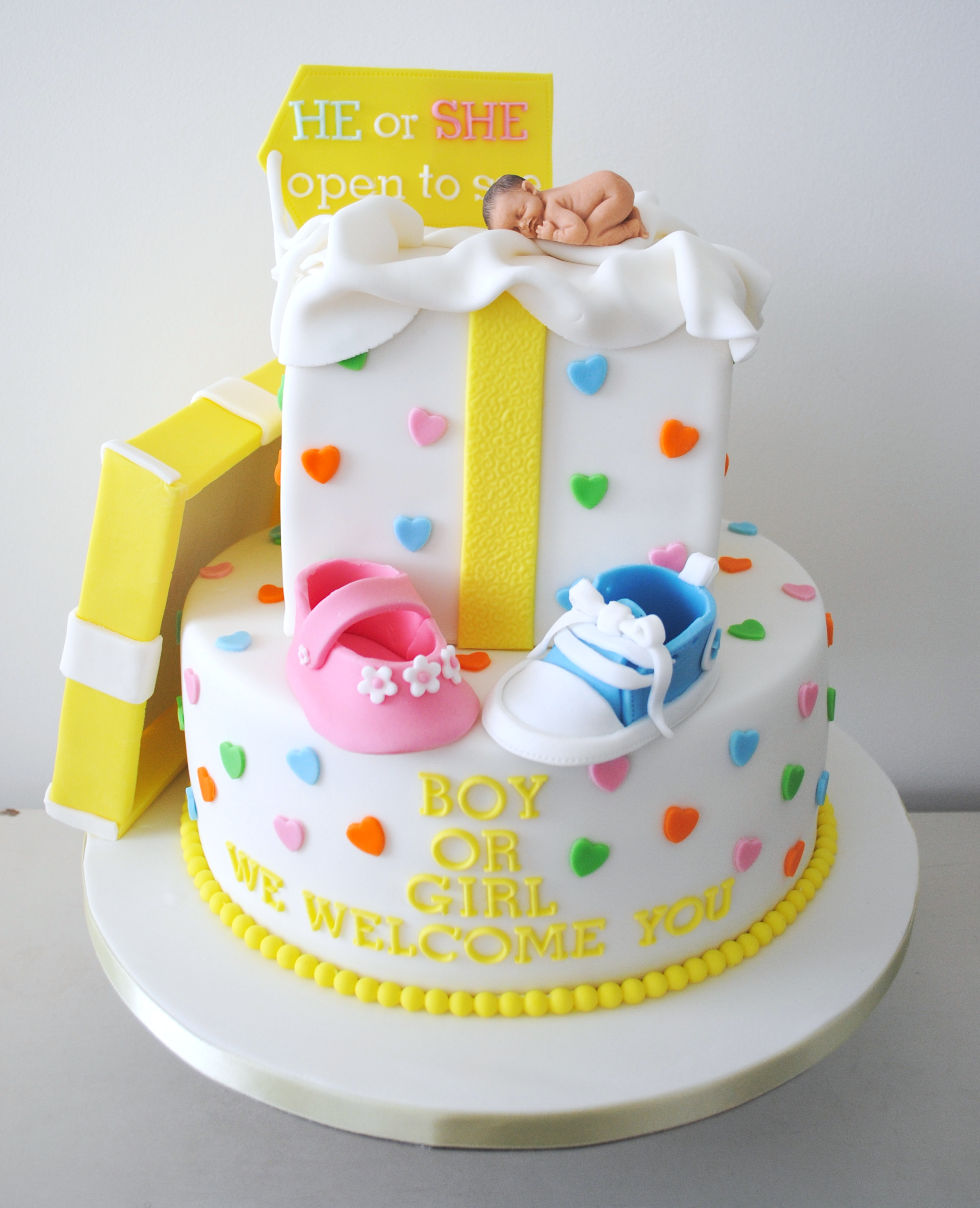 Baby shower reveal welcome cake