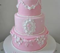 3 tiered christening cake
