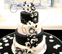 4 tiered black and white wedding cake