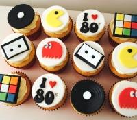 80's rubix cube pacman themed cupcakes