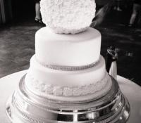 White rose ball wedding tiered cake