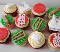Cricket themed birthday cupcakes