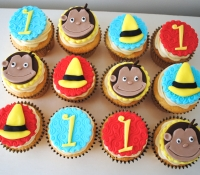 Curious George first birthday cupcakes