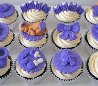 Purple baby shower cupcakes