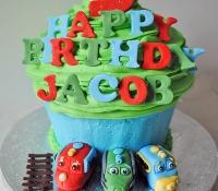 Childrens train giant cupcake