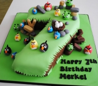 Angry bird character number 7 birthday cake