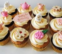 Vintage tea room anniversary birthday cupcakes
