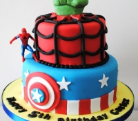 Super hero captain america spiderman and hulk 2 tiered birthday novelty cake