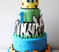 5 tiered First birthday safari novelty cake