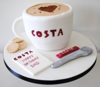 Costa coffee cup birthday novelty cake