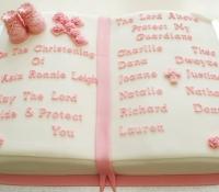 Bible baptism christening celebration cake