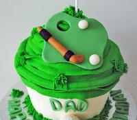 Golf themed birthday giant cupcake cake