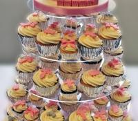 Pink christening cupcake stand