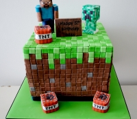 Minecraft game birthday cake