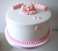 Pink girl baby shower cake