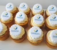 Sanofi logo cupcakes
