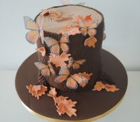 Tree trunk thanks giving cake
