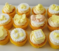 Yellow baby shower cupcakes