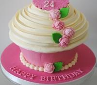 Pink rose giant cupcake