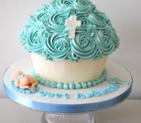 Christening baby boy giant cupcake