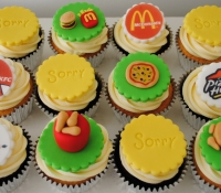 Food inspired sorry cupcakes Mcdonalds pizza hut kfc