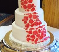 Chinese zodiac rose petal 3 tier wedding cake