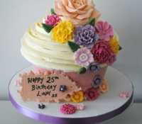 Vintage flower and rose giant cupcake