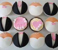 Bride and groom wedding cupcakes