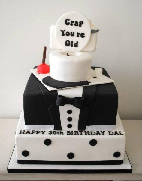 30th Birthday Tux And Toilet Cake