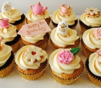 Vintage Tea Birthday Cupcakes