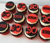 Black and Red 30th Birthday Cupcakes