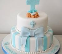 2 tiered christening cake