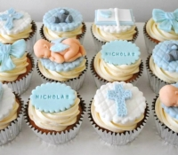 Personalised Baby Boy Christening Cupcakes