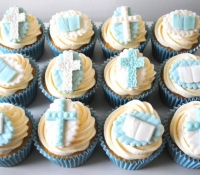 Cross and Bible Christening Cupcakes
