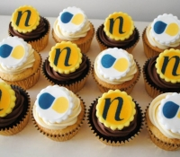 Northfields and Stern and Company corporate logo cupcakes
