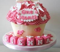 One Month Celebration Giant Cupcake