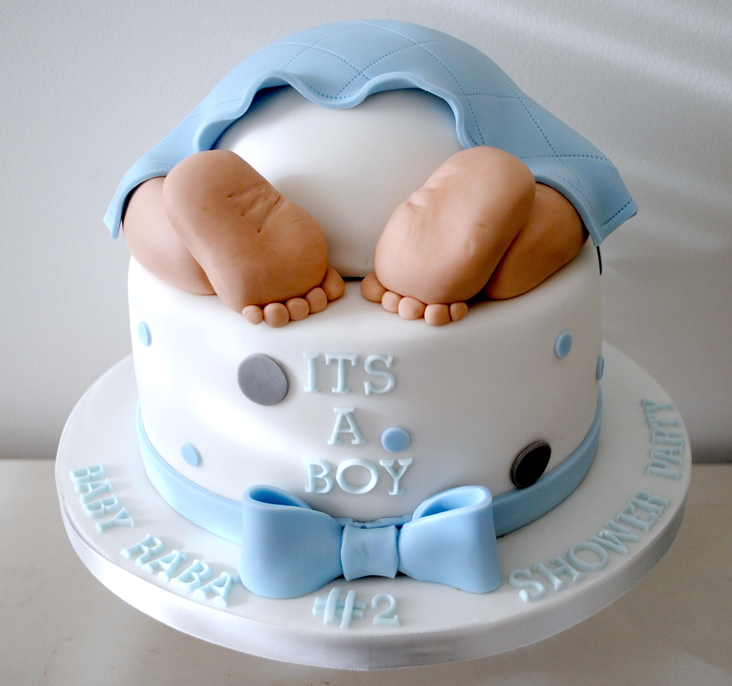 2 tiered baby bottom baby shower cake