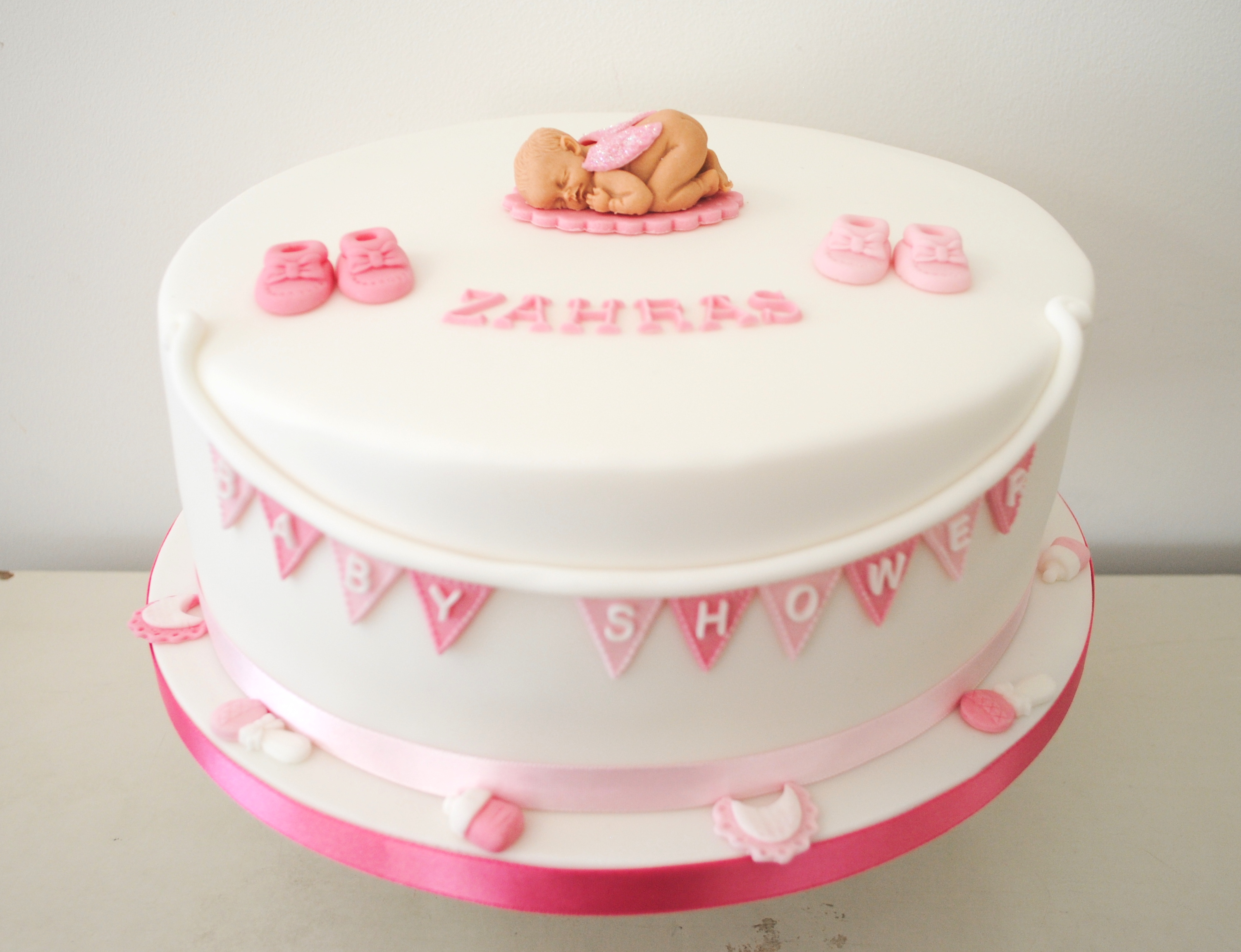 Pink Baby shower bunting cake