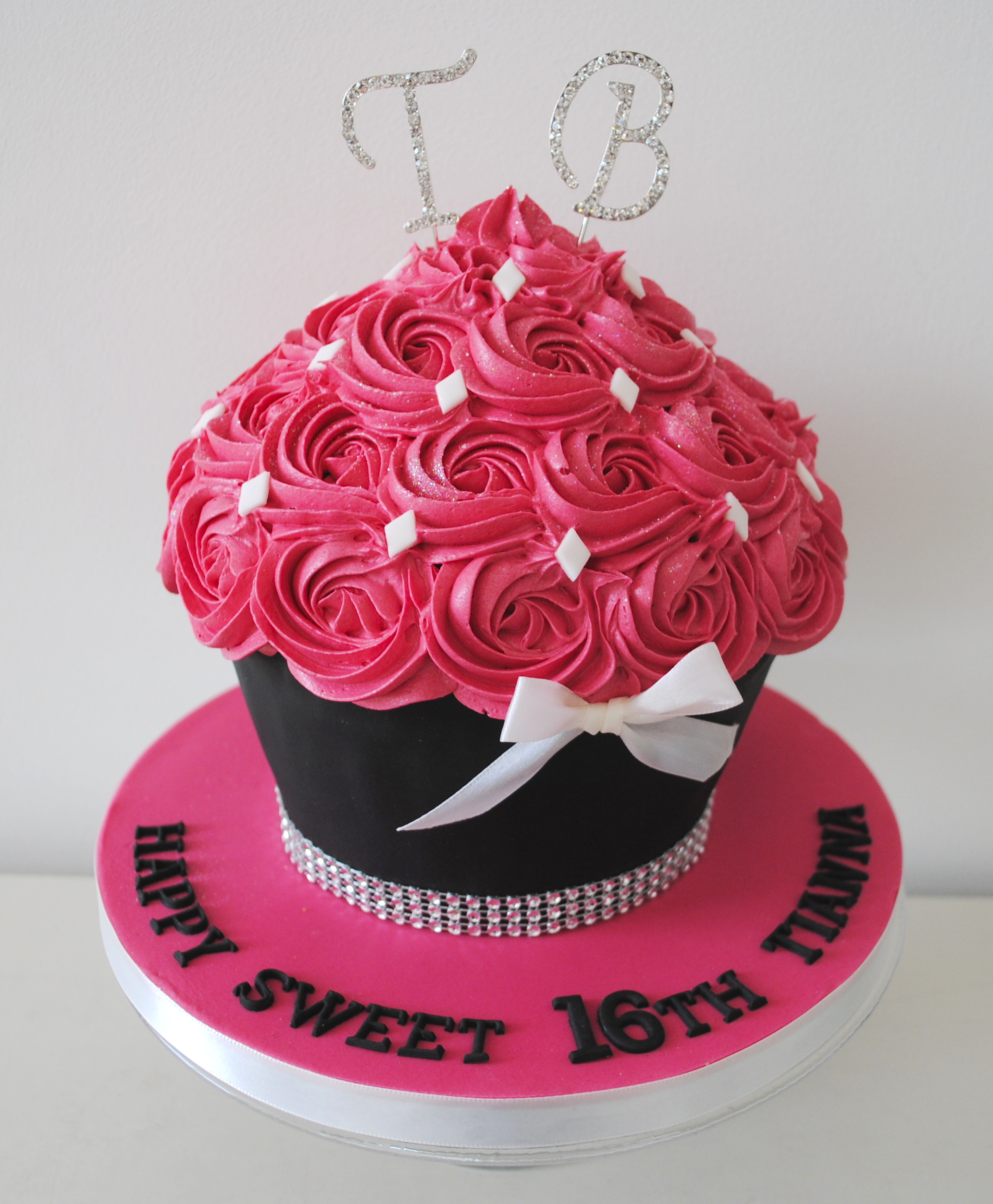 Pink Bling Bow And Initial Birthday Giant Cupcake