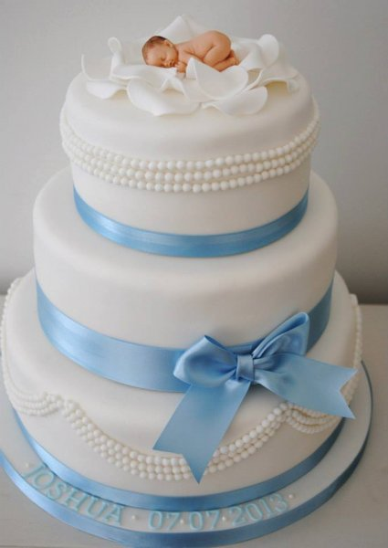 3 Tiered Christening Cake With Baby