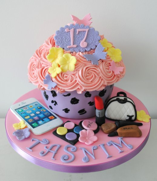 17th Birthday Giant Cupcake With IPhone MAC Make Up And Chanel Bag