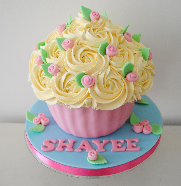 Strange Miss Cupcakes Blog Archive Pink Rose Birthday Giant Cupcake Funny Birthday Cards Online Necthendildamsfinfo